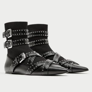 ZARA Buckle Sock Ankle Boots Strappy Black